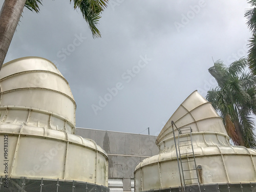 Photo Ventilation system pipes of big distribution warehouse