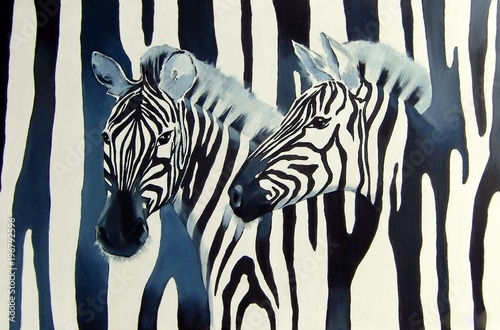 Cadres-photo bureau Zebra Illustration with zebras on the black and white striped background.