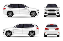 Realistic SUV Car. Front View;...