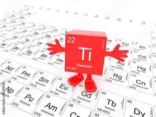 Titanium Element Symbol Up On White Periodic Table Happy Red Cube