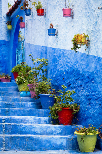 Deurstickers Blue city of Chefchaouen Morocco