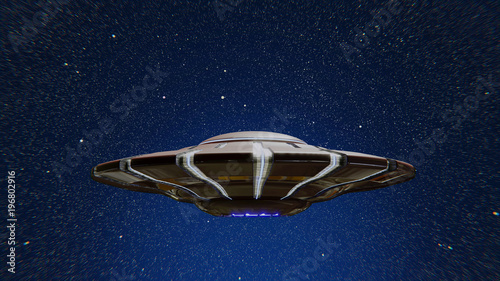 Fototapeta UFO, alien spaceship in outer space, flying saucer with starry sky background (3