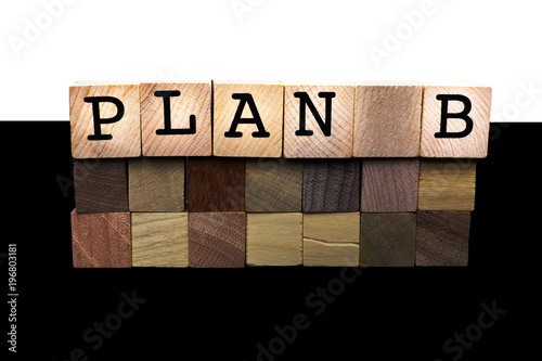 Fotografia, Obraz  Word abstract in wood type Plan B concept