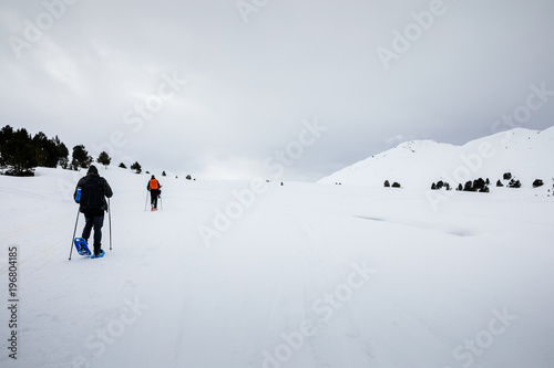 Hikers walking on snow covered landscape
