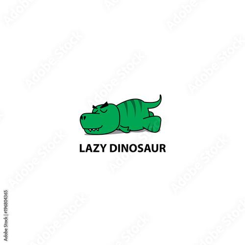 Photo Lazy dinosaur, Funny t-rex sleeping icon, logo design, vector illustration