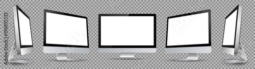 Photo  Five black computer monitor with white display in turn - vector