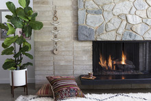 Mid Century Modern Living Room Detail Fireplace And Afgan Pillows