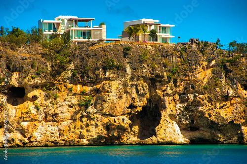 Houses with a view of the little bay in Anguilla Canvas Print