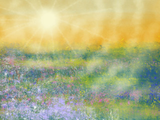 Obraz Colorful hand drawn abstract view of field with flowers on yellow watercolor background as sun light, cartoon illustration of spring landscape view painted by watercolor and pastel chalk, high quality