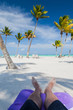 Beach in the Caribbean Sea with White Sand, Turquoise Water and Palm Trees, in Cap Cana, Dominican Republic