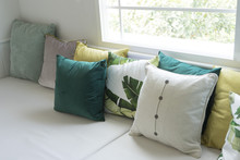 Close Up Of Colorful Pillows O...