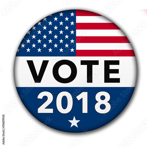Fototapeta  USA Vote 2018 Button with Clipping Path