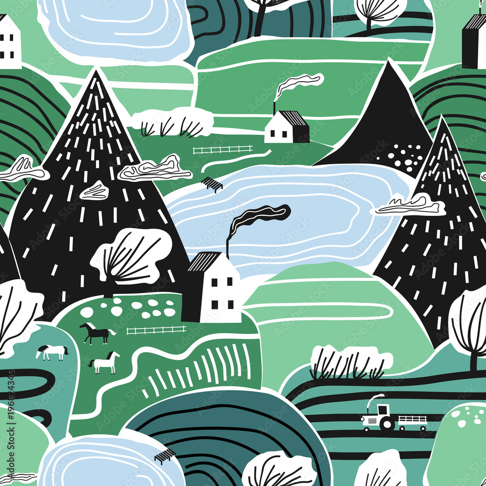 Hand drawn vector abstract scandinavian graphic illustration seamless pattern with house,trees and mountains. Nordic nature landscape concept. Perfect for kids fabric,textile,nursery wallpaper.