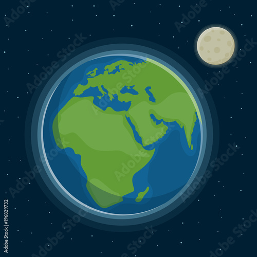 Foto op Aluminium Pixel Earth and moon against the background of the starry sky. Earth Day.