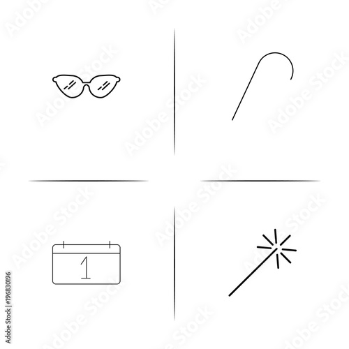 Fotografie, Obraz  Holidays simple linear icon set.Simple outline icons