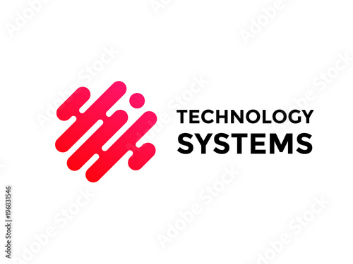 Obraz Technology logo simple tech design. Vector creative abstract circle round red flow shape modern icon for construction technology or logo template for digital communication concept - fototapety do salonu