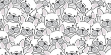 Dog  Seamless Pattern French Bulldog Vector Scarf Isolated Wallpaper Background Cartoon Doodle
