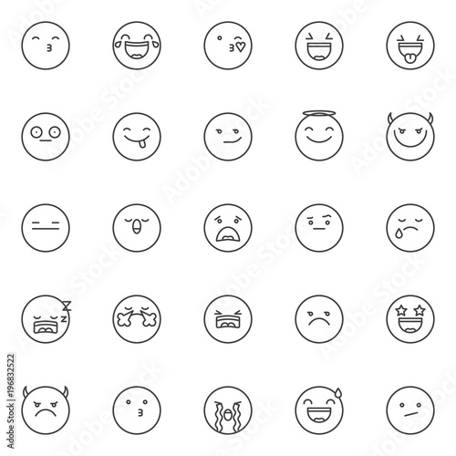Emoticon Outline Icons Set Linear Style Symbols Collection Line