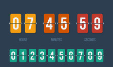 Flip Countdown Clock Counter Timer. Vector Time Remaining Count Down Flip Board With Scoreboard Of Day, Hour, Minutes And Seconds For Web Page Upcoming Event Template Design, Under Constuction Page.