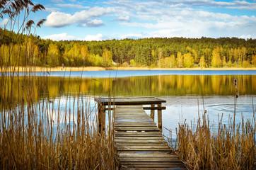Panel Szklany Podświetlane Rzeka i Jezioro Jezioro na Mazurach