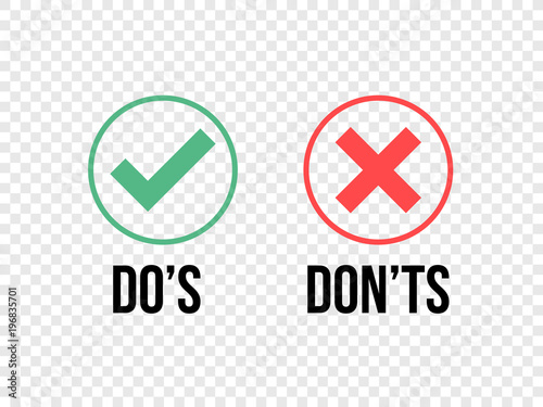 Photo  Do and Dont check tick mark and red cross icons isolated on transparent background