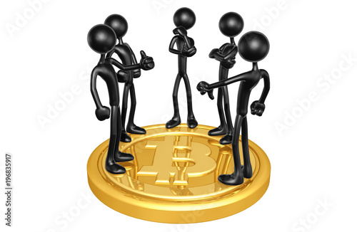 Valokuva  The Original 3D Characters On A Bitcoin
