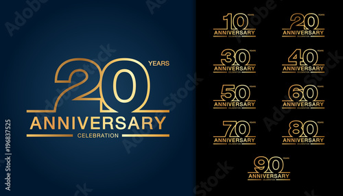 Photo  Set of anniversary logotype