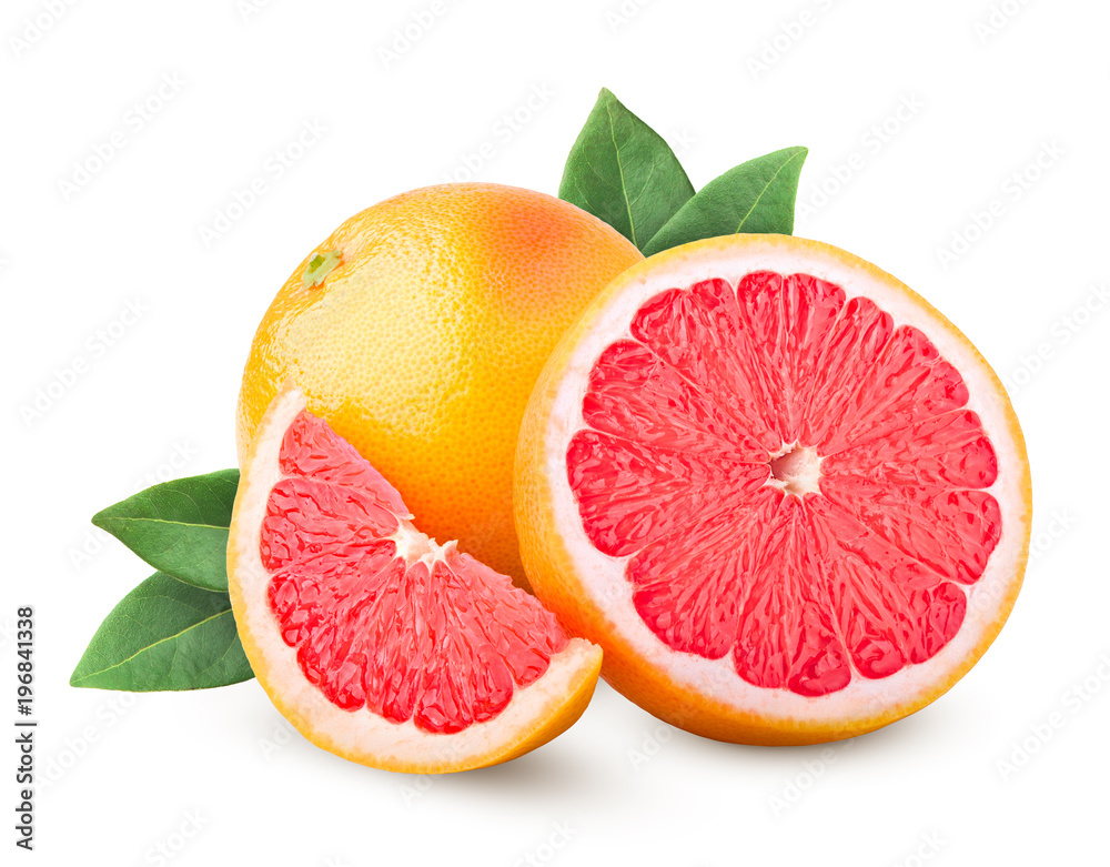 Fotografie, Obraz grapefruit isolated on white background, clipping path, full depth of field