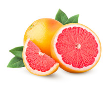 Grapefruit Isolated On White Background, Clipping Path, Full Depth Of Field