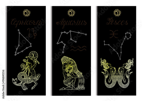 Set with Capricorn, Aquarius and Pisces Zodiac symbols banners on black Wallpaper Mural