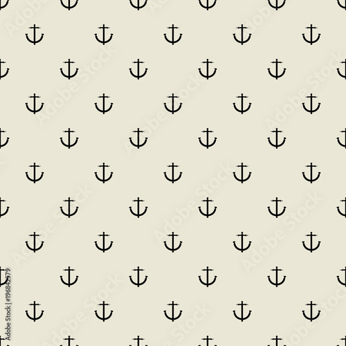 Fototapeten Künstlich Abstract minimal seamless pattern. Hipster fashion design print with anchor.