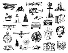 Wanderlust Hand Lettering In Vector. Travel Icons Set. Drawn Illustrations Collection. Outdoor Adventures Symbols.