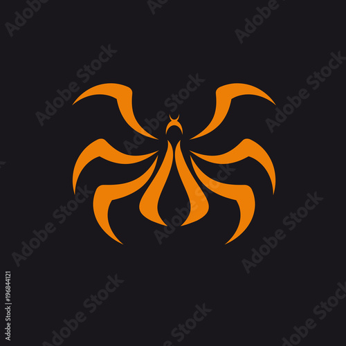 Obraz na plátne Vector logo abstract Spider, orange on black