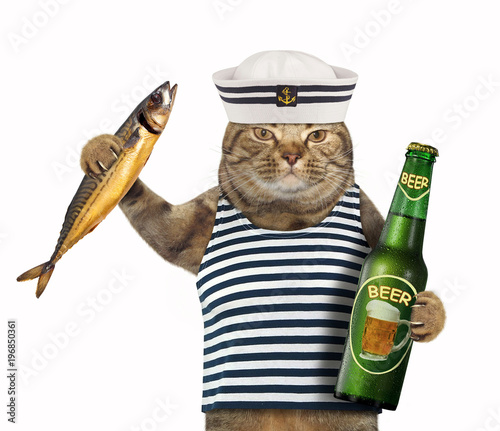 The cat sailor holds a bottle of beer and a big smoked mackerel. White background. Wall mural