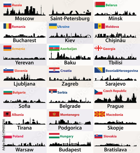 Fotografia  vector silhouettes of East European cities skylines with countries flags