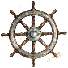 Ship Steering Wheel. Watercolor Illustration.