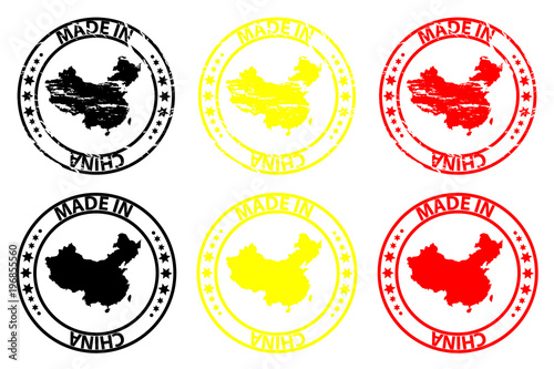 Foto  Made in China - rubber stamp - vector, China map pattern - black, yellow and red