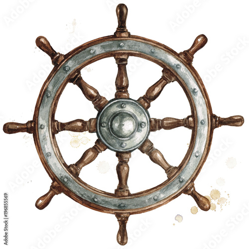 Poster Watercolor Illustrations Ship steering wheel. Watercolor Illustration.