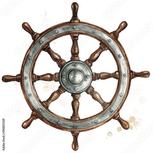Door stickers Watercolor Illustrations Ship steering wheel. Watercolor Illustration.