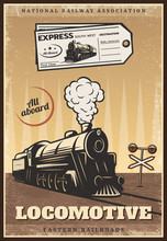 Vintage Colored Industrial Retro Train Poster