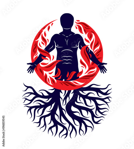 Photo  Vector illustration of human being created with tree roots