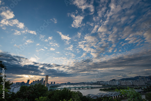 Fotobehang Seoel 한강과 서울풍경