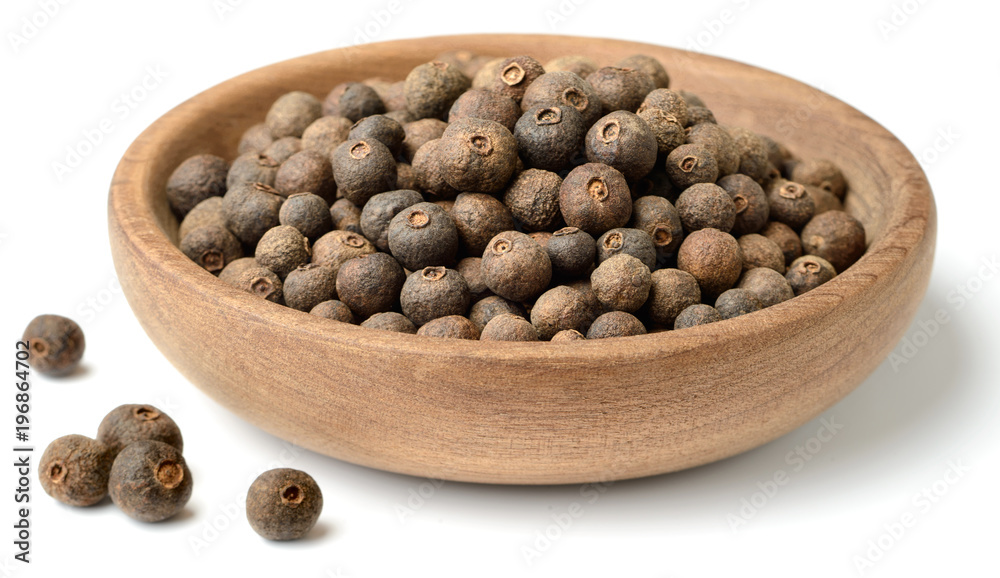 Fototapety, obrazy: dried herb, allspice in the wooden plate. isolated on white