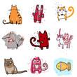 Cute doodle animals illustration set.