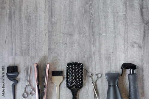 Fotografering Hair Salon Accessories on a Wood Background