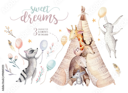 Valokuvatapetti Cute baby giraffe, deer animal nursery mouse and bear, raccoon and bunny isolated illustration for children