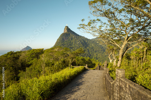 Panorama of Tijuca forest and Corcovado mountain in Rio de Janeiro, Brazil