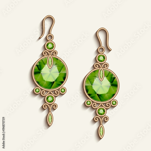 Fotografie, Obraz Vintage gold jewelry earrings with green gemstones