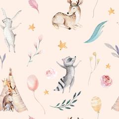 FototapetaCute family baby raccon, deer and bunny. animal nursery giraffe, and bear isolated illustration. Watercolor boho raccon drawing nursery seamless pattern. Kids background, nursery print