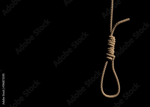 Obraz na plátně  A fabric low poly suicide rope with slipknot placed on the white concrete wall with white space on left